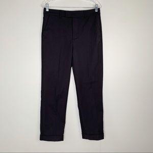 Zara Woman Pants 6 Black Trouser Cuffed Straight
